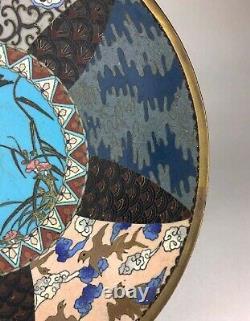 Plaque Antique Fine De Cloisonné Japonais Avec L'ère Florale De Meiji De Modèle, 19c