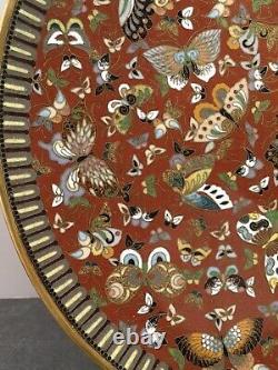 Plaque Japonaise Fine De Cloisonne D'école De Méiji De Kyoto Avec Des Papillons