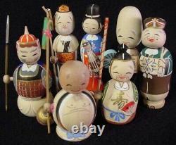 Rare 7 Dieux Chanceux Nodder Kokeshi Doll Set Fine Detail Old Stock 1960's Mint