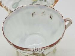 Rare Antique Japonais Fine Porcelain Cup & Soucoupe Satsuma Kutani Frogs Ae1