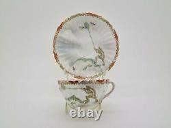 Rare Antique Japonais Fine Porcelain Cup & Soucoupe Satsuma Kutani Frogs Ae2