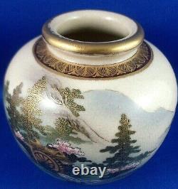 Rare Antique/vintage Japonais Satsuma Fine Hand-painted Small Pottery Vase Aus