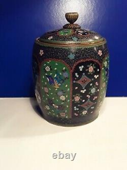 Rare Fine Antique Japonais Meiji Cloisonne Tobacco Jar