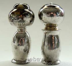 Rare & Fine Niello Japonais/doré Sterling Silver 950 Sel-poivre Kokeshi Shakers