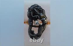 Rare Impérial Japonais Meiji 19ème Siècle 1890 Argent Or Diamond Dragon Anneau