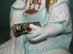 Réduit! Belle Antique Japonaise Kutani Porcelaine Assise Figure Féminine