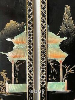 Set Fine 4 Japonais Shibayama Gilt Oeuvres Temple Geisha Plaques Murales De Lady