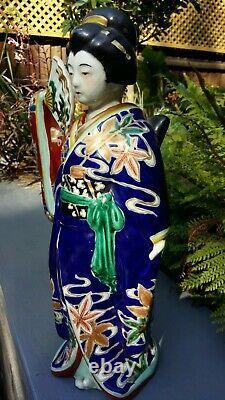 Statue De La Dame Kutani Peinte À La Main En Couleur Fine