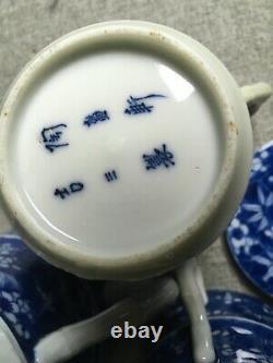 Superbe Ensemble De Thé De Porcelaine D'antique Japonais Imari Arita Meiji Signé 19e C