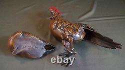 Très Fin Grande Période Meiji Japonais Polychrome Bronze Coq Et Poule Statue