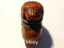 Très Fine Antique Japonaise Meiji Edo Période Carved Wood Tiger Netsuke Signé
