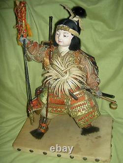 Très Fine, Antique Japonaise Onna-bugeisha, Poupée Guerrière Femelle Avec Des Yeux De Verre