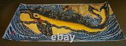 Très Fine Grande Main Japonaise Peinture Samouraï Et Une Baleine Sur Papier