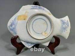 Très Fine Japon Japon Imari Porcelaine En Forme De Poisson Assiette Ca. 19-20ème Siècle