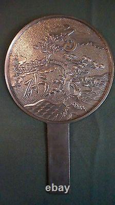 Très Fine Période Japonaise Meiji Bronze Geisha Hand Mirror Tree, Nuages, Océan