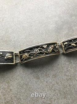 Un Bracelet Japonais Décoré De Shakudo Doré D'ère Taisho Fine