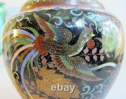 Vase À Cloisonne Meiji-era Fine Et Rare Avec Feuilles Dorées Vers 1890 Antique