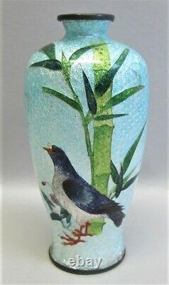 Vase À Cloisonne Meiji-era Fine Japonais Avec Sea Bird Design C. 1880 Antique