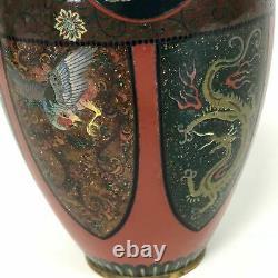 Vase De Cloisonne Japonais Antique Fin D'ère De Meiji