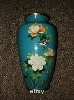 Vase De Cloisonne Japonais, Début/moyen Du 20e Siècle, Oiseau, Fleurs