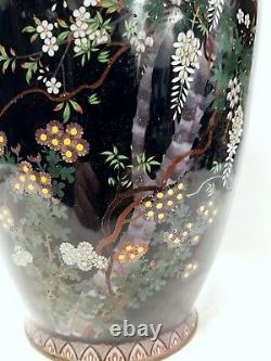 Vase De Cloisonne Japonaise Ancienne Immense Attribuée À Ota 18/46 Cm. La Taille