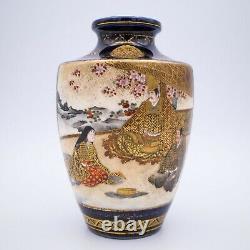 Vase De Satsuma Blue-ground Japonais De Kinkozan Studio. Période Meiji