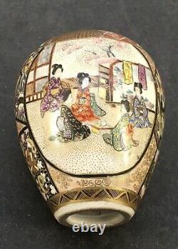 Vase Japonais Meiji Satsuma Avec De Belles Décorations Diverses, Signé
