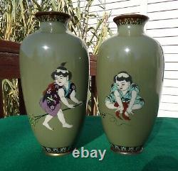 Vases Anciens Cloisonné Japonais Au Début De L'ère Meiji. Une Belle Paire. 10 Grand Chacun