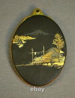 Very Fine Antique 19ème C. Japonais Mt Fuji Damascene Locket W Mirror Meiji Japon