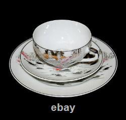 Vintage Kutani Japonais Fujiyama Mont Fuji Geisha Lithophane Fine Chine Tea Set