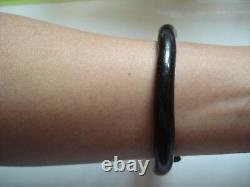 Vtg Antique Gift1800 Japonais Naturel Noir Corail 8 Banl Bracelet Free Ship