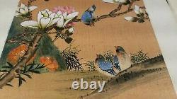 Vtg Peintures D'oiseau Japonaises Originales Sur Papier De Riz En Guache Très Fin Détail